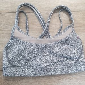 Grey marble strappy sports bra